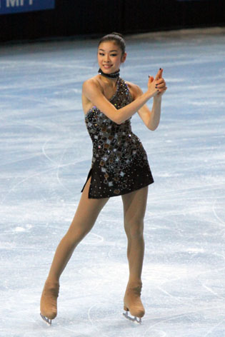 Kim Yu Na doing her act at the 2009 Trophee Eric Bompard