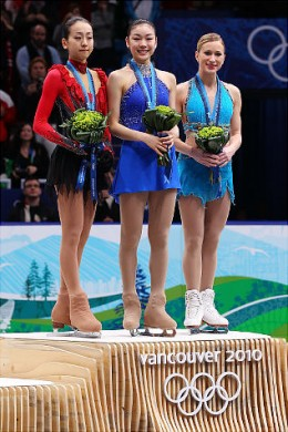 FIGURE SKATING LADIES WINNERS  Kim Yu-Na in the middle (gold)   Mao Asada (wearing red and black) -- Japan (silver)   Joannie Rochette -- Canada (bronze)