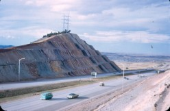 The famous road-cut along I-70 west of Denver in a dated photo from 1974.