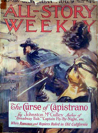 The introduction of Zorro as a literaty character, August 1919 (image in the public domain).