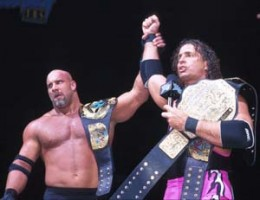 Bret Hart with Bill Goldberg, who would end Hart's in-ring career at Starrcade 1999