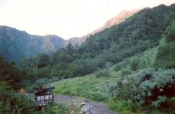 Taken at first light showing the obscured summit of Kita dake from Shirane oika campground.