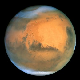 CLICK FOR FULL SIZE IMAGE. The Hubble Space Telescope took this picture of Mars on June 26, 2001. Photo courtesy of NASA.