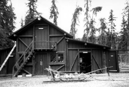 A dog feed house and sled storage at Denali HQ in Alaska.