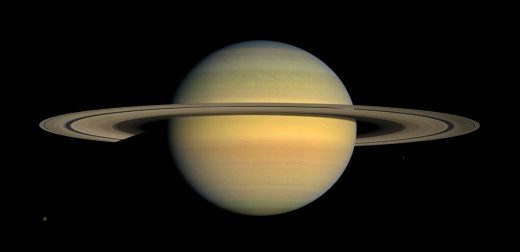Natural color view of the planet Saturn from images collected by Cassini, July 2008. Courtesy of NASA.
