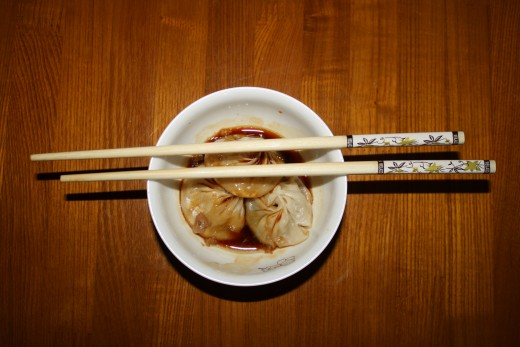 Some of the dumplings from the street vendor.