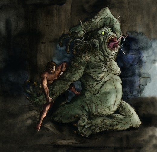 Grendel and Beowulf fight