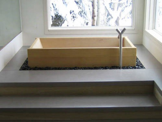 An installed tub