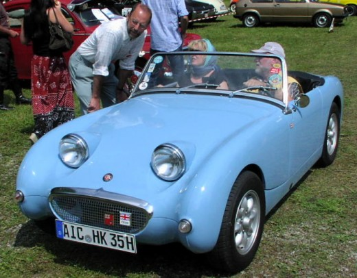 An Austin Healey Bugeye Sprite by MartinHansV via Wikimedia Commons. A public domain image.