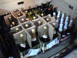 Crate of sparkling wine for a wedding