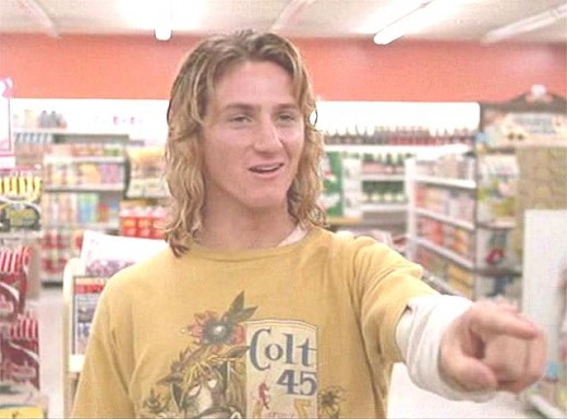 "Sean Penn as Jeff Spicoli in ""Fast Times at Ridgemont High"".  Arguably the ""high"" point of Penn's illustrious career."