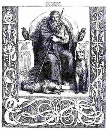Odin, seen here with his ravens; Huginn and Muninn and two Wolves; Freki and Geri.