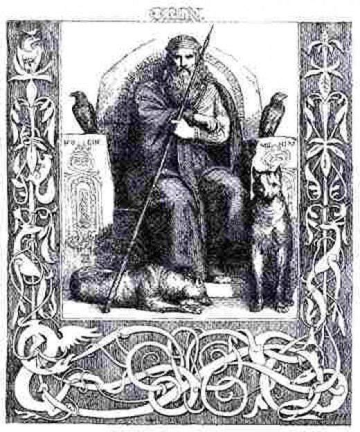 Odin is seen here with his ravens and the two Wolves; Freki and Geri.