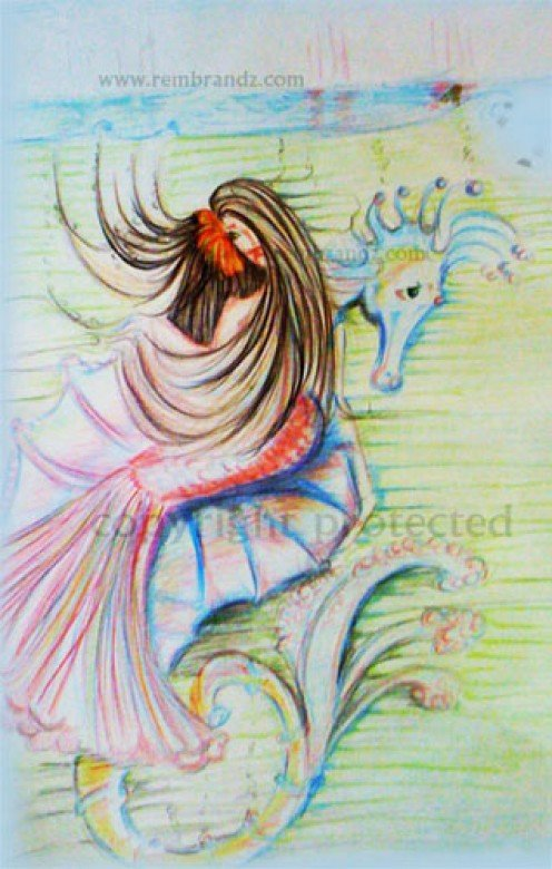 Drawing_3: The Mermaid and the Seahorse