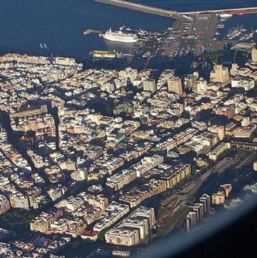 Aerial view of Santa Cruz