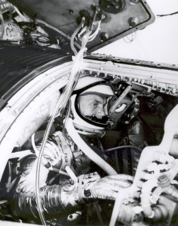 John Glenn trains in a flight simulator. Photo courtesy of NASA.
