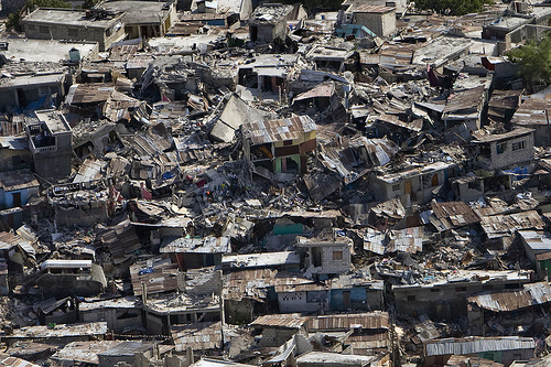 Destruction in Haiti after an earthquake.