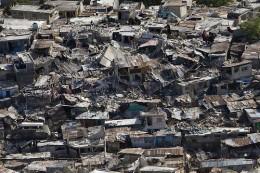 Destruction in Haiti after an earthquake.