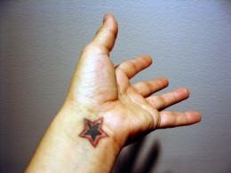 Star Tattoo on a wrist.
