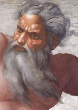 A familiar view of God as painted on the ceiling of the Sistine Chapel,