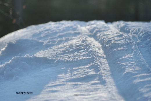 A ski track takes on a new look near sunset.