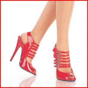Strappy red peep-toes - photo credit: kaboodle.com