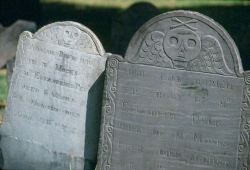 Cemetery records and death indexes are vital records that can help locate ancestors. Photo of Granary Burying Ground in Boston, MA.