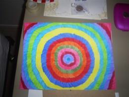 The finished starburst/tie dye art.