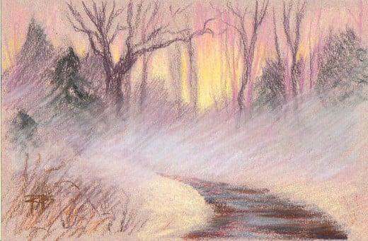 """Misty Trees, pastel, 4"""" x 6"""" by Robert A. Sloan"""