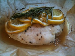 The lemon chicken unwrapped - see how pretty?
