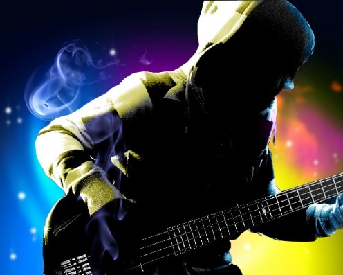 The bass guitar keeps the beat strong