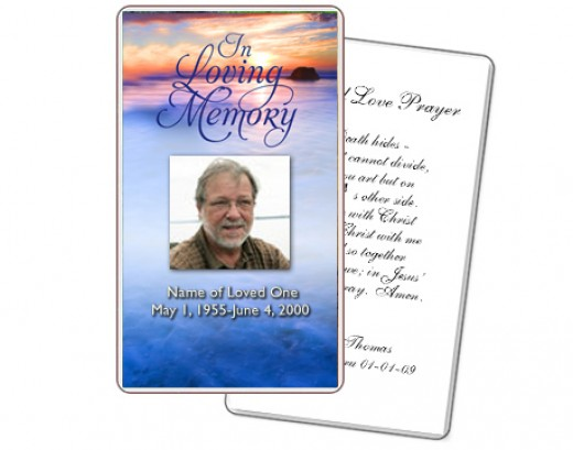 template for memorial card