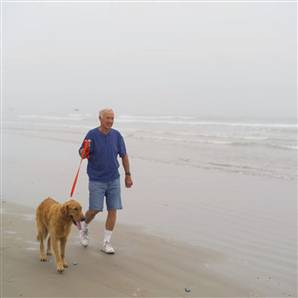 My favorite walking along the beach, with the dog perhaps?