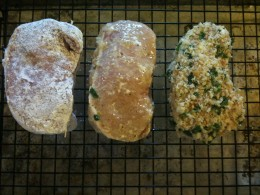 You'll dip each chop first into flour, then the egg wash, then into the breading.