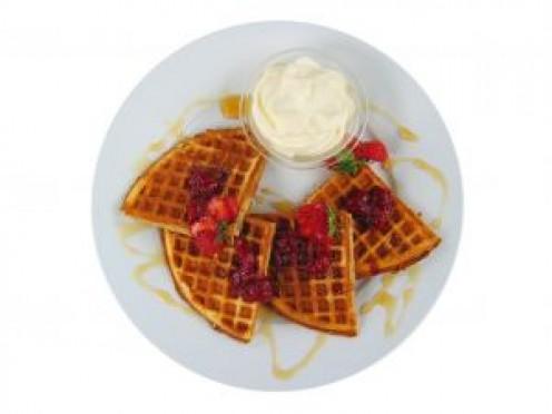 Waffles+Strawberries+Cream=Yummy