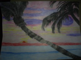My drawing of a Hawaiian sunset.