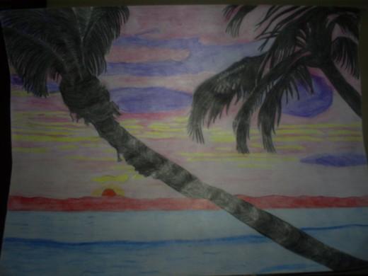 My drawing of a Hawaiian sunset.