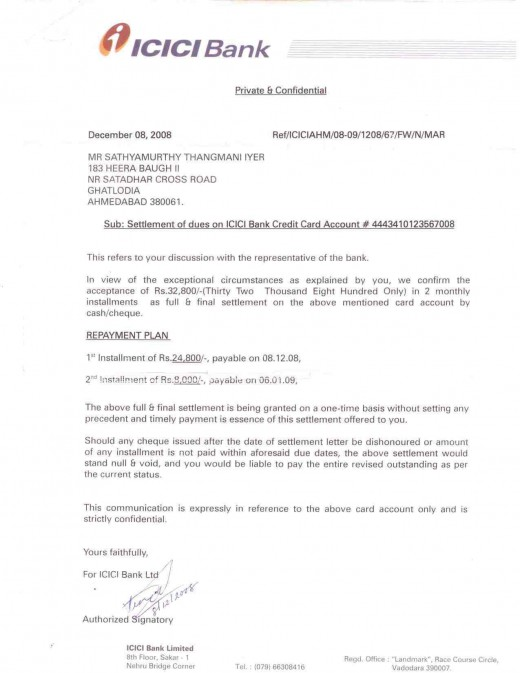 Settlement Letter from ICICI bank.