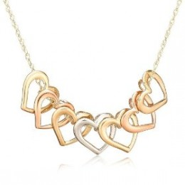 Buy 10k Tri-Tone Gold Open Hearts Necklace