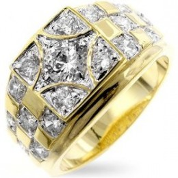 Buy Mens Ring Gold Plated With Clear CZs