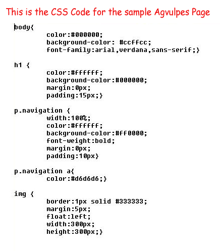 CSS Code for the Agvulpes sample page