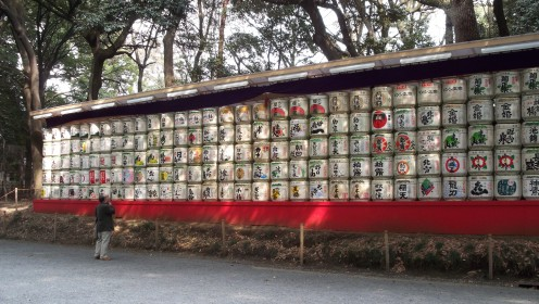 Casks of sake donated to consecrate the shrine