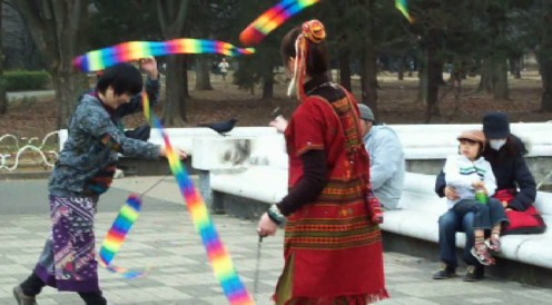 Ribbon dancers in Yoyogi park