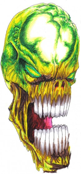 A skull drawing with added colour, get some drawing ideas from some of the tutorials listed in this hubpage article. Drawing by Wayne Tully Copyright  2010