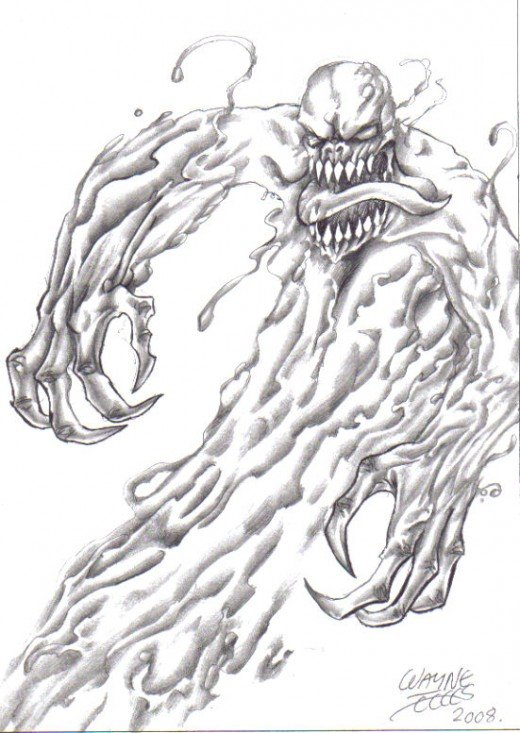Demonic Monster drawing sketched with a black biro and shaded slightly with a hb pencil.