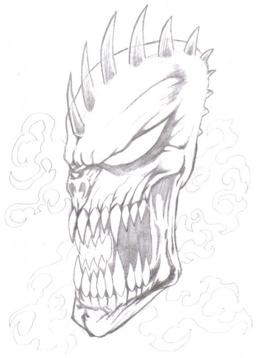 An idea that may end up the best near selection for our demon tattoo with a few changes I will start to draw it.