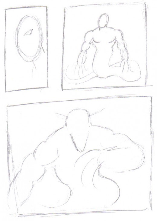 A rough draft layout of the comic book page what is often referred to as a thumbnail.