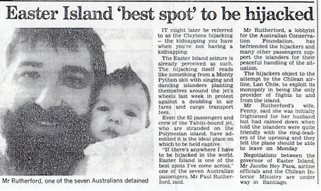 Newspaper article that appeared in the Australian press about our Easter Island highjacking!