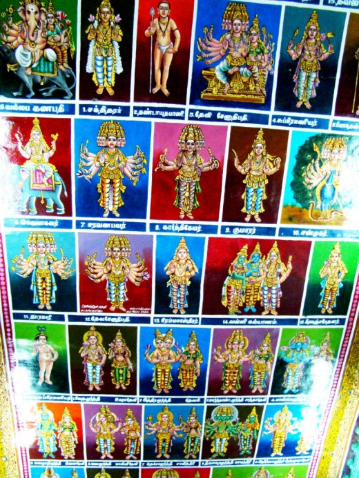 Colorful ceiling depicting Hindu gods & goddesses