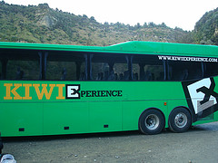 Kiwi Bus ready to transport you around New Zealand, land of amazing scenery (remember Lord of the Rings and recently Avatar)
